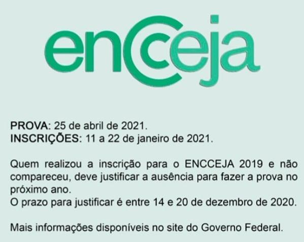 Comunicado de inscrições ENCCJA