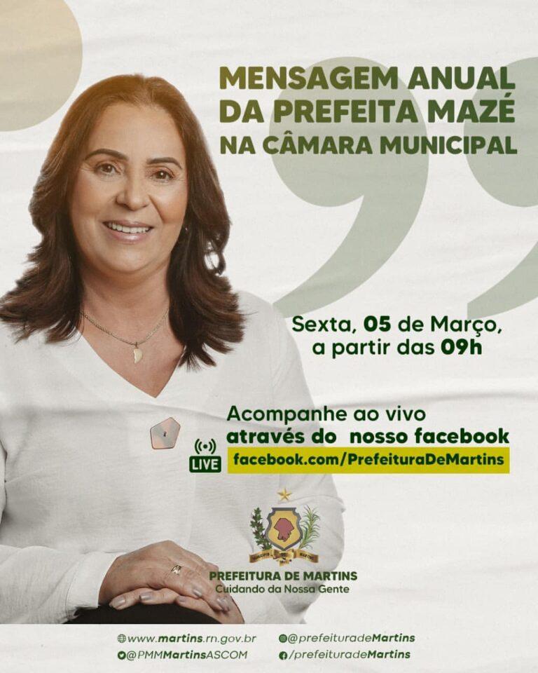 Mensagem anual da Prefeita Mazé na Câmara Municipal de Martins
