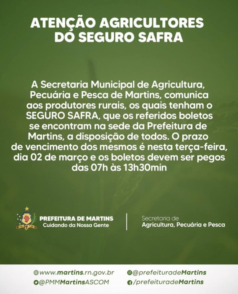 Atenção agricultores do seguro safra