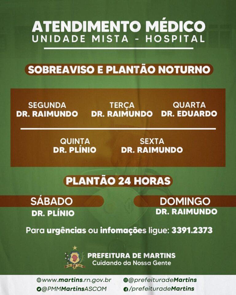 Informativo: Plantão médico na unidade mista (hospital)