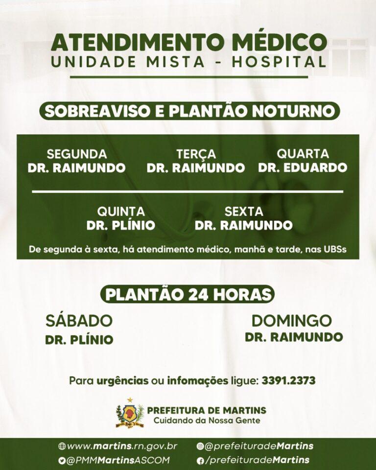 Horários dos atendimentos médicos na unidade mista (hospital)