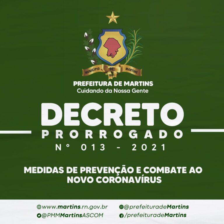 Decreto prorrogado – Nº 013 – 2021