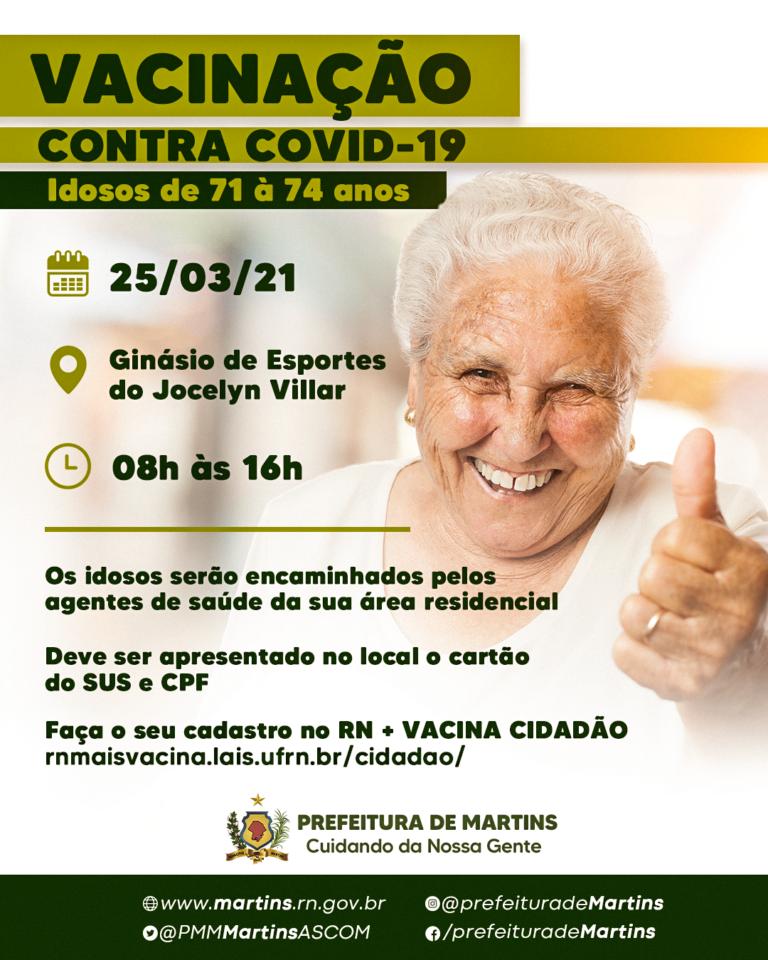 Vacinação de idosos de 71 à 74 anos
