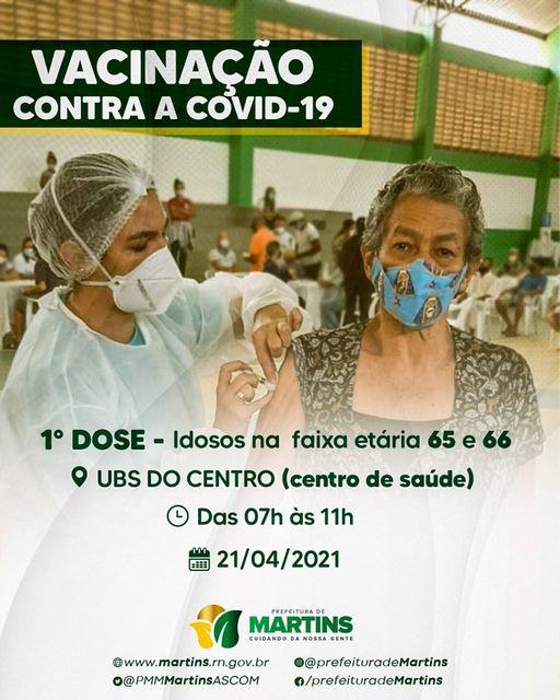 Read more about the article Secretaria de Saúde de Martins dá continuidade à vacinação contra a COVID-19 nesta quarta-feira, feriado nacional