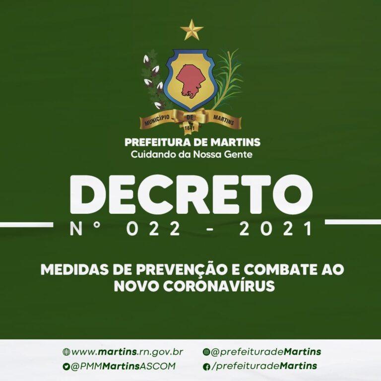 DECRETO N.º 022, DE 13 DE MAIO DE 2021.