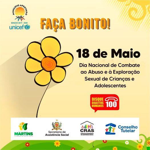 18 de Maio dia do combate ao abuso e exploração sexual de crianças e adolescentes