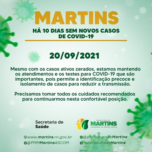 Read more about the article Martins zera casos de COVID-19